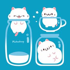 These fat cats ended up being my shop mascot this year, they are very majestic Cute Kawaii Drawings, Cute Animal Drawings, Kawaii Art, Little Doodles, Cute Doodles, Anime Animals, Cute Animals, Art Central, Cute Chibi