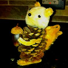 pine cone, cone squirrel, fall kid crafts, fall kids