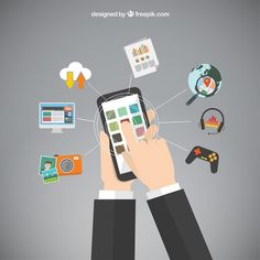 Mobile phone apps Free Vector
