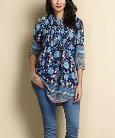 This Navy & Blue Floral Chiffon Notch Neck Pin Tuck Tunic is perfect! #zulilyfinds