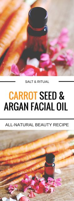 Carrot Seed and Argan Facial Oil DIY  Luxurious and effective facial oil DIY, with only two major ingredients:  argan oil and carrot seed essential oil, plus scented with a blend of  geranium and rose. Perfect as an all around facial oil, as an eye oil or to  smooth fine lines.  After going through a bout with dry skin recently, argan oil has come to my  rescue. I don't know what caused the dry skin, if it's just getting older  or if the previous oils I was using (mainly rosehip seed oil)…