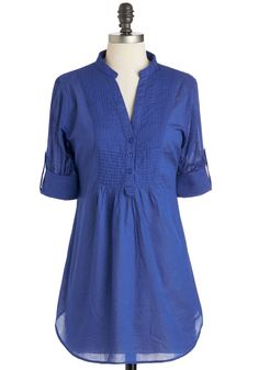 Back Road Ramble Top in Blue - Blue, Solid, Buttons, Casual, Long Sleeve, Cotton, Long