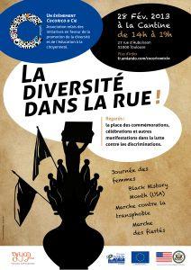 La diversité dans la rue. Débat et rencontre, le 28 fev, à la Cantine Toulouse. Les évènements commémoratifs et la lutte contre les discriminations