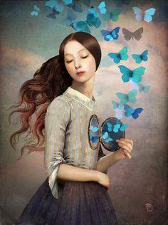 Dit schilderij laat je denken dat je lichaam hol is en gevuld met mooie vlindertjes.