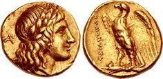 An Excessively Rare Greek Gold Triobol of Tarentum (Calabria) Mycenae, Greek Jewelry, Antique Coins, Laurel Wreath, Greek Art, Rare Coins, Armors, Coin Collecting, Ancient Greece