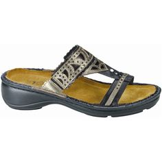 Naot Women's Oleander, Style #: 74035-NZ9 in Black Madras-Pewter | This women's sandal boasts a contrasting leather and stitch design with rhinestones accents that beautify its unique look. Removable cork and latex footbed delivers comfort all day long, while polyurethane outsole provides traction and metal shank offers stability for all time comfort. Take off this summer in style and confidence with these perfect Naot Oleander sandals. | #Naot available at www.TheShoeMart.com #TheShoeMart