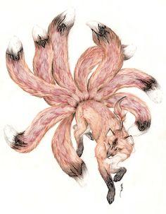 : Kitsune- The Fox Mythical Creatures Art, Mythological Creatures, Magical Creatures, Fantasy Creatures, Japanese Mythology, Japanese Folklore, Japanese Art, Nine Tailed Fox, Fox Drawing