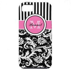 Monogrammed Pink, Black, White Striped Damask iPhone 5 Cases from Zazzle.com