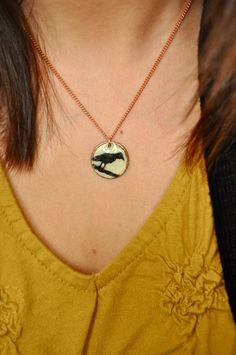 Hand Painted Penny Necklace Raven by LaurenxJoy on Etsy, $22.00