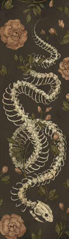 Illustration created to go on a skateboard for Light Grey Art Lab's Skate or Die show.<br/> <br/> flowers, floral, snake, snake skeleton, skeleton, bones, dark, nature