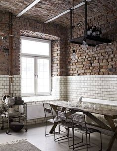 Exposed brick kitchen tiles a creative and industrial studio in in the house brick tiles home interior decor stores Decor, Beautiful Office, House Design, Interior Design, House Interior, Home, Industrial Interiors, Interior, Interior Decorating