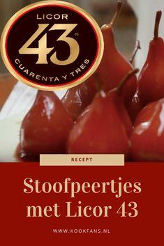 Zo maak je stoofpeertjes met Licor 43 nog lekkerder! Diner Recipes, Dutch Recipes, Delicious Desserts, Dessert Recipes, Yummy Food, Tapas, Xmas Food, Creative Food, High Tea