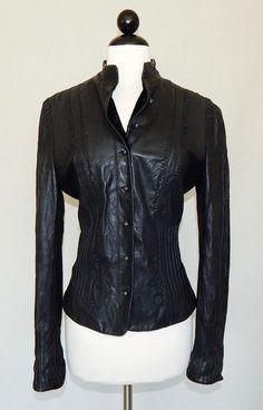 ELIE TAHARI Black Buttery Soft Leather Seamed Slit Feminine Fitted Jacket Size M #ElieTahari #BasicJacket #Casual