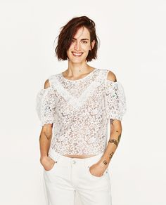 LACE TOP WITH CUT OUT SHOULDERS-Short sleeve-T-SHIRTS-WOMAN | ZARA United Kingdom