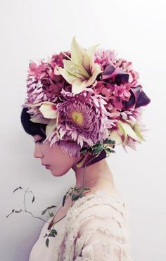Takaya Hanayushi's floral creations via sho & tell: Flowers In Her Hair.