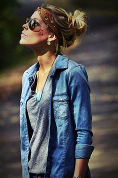 Shades, bandana, charcoal shirt, jean button up.