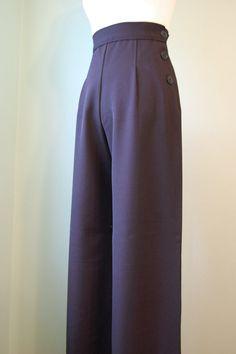 1930s 1940s      black  or  navy  wool gabardine   wide leg  slacks     custom made for your size