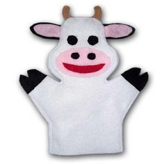 Cow hand puppet sewing pattern. Sew your own Animal hand puppets with this puppet pattern! One size fits most. A puppet is by far the best toy you can give to your child. They are exceptional toys for all ages! From infants to 8, puppets are loved and played with FREQUENTLY!   Puppets are excellent for teaching social conversational skills. They are perfect for children with conditions such as autism to really work through various issues. $1.99