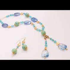 ??Fashion statement jewelry set?? This is a conversation piece one that you would surely love, won't last long picture doesn't do it justice it's kind of like a teal color Jewelry Necklaces