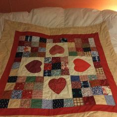 Baby Girl Hearts and Kisses Baby Quilt by Craftsy student lwalshmill! Children's Quilts, Denim Quilts, Baby Quilts, Kisses, Hearts, Student, Blanket, Bed, Pattern