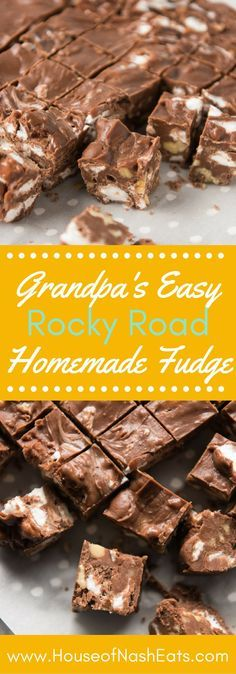 Loaded with marshmallows and chopped walnuts, easy homemade Rocky Road Fudge Homemade Candies, Homemade Desserts, Köstliche Desserts, Delicious Desserts, Dessert Recipes, Homemade Fudge Easy, Homemade Candy Recipes, Easy Fudge, Homemade Brownies