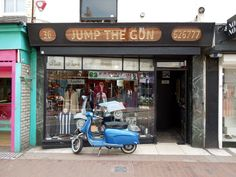 © photo by Paul Wright Jump the Gun mod clothing shop in Brighton. See all my Mod photos here: Mods Jump the Gun 36 Gardner Street Brighton Mod Scooter, Scooter Girl, Scooters, Fred Perry Polo Shirts, Shop Signage, Vespa Lambretta, Brighton And Hove, Shop Around, My Town