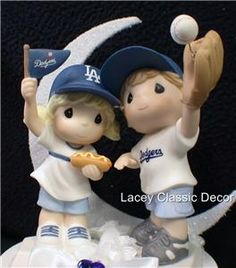 dodgers precious moments | Dodgers Baseball Wedding Cake Topper Los Angeles FANS