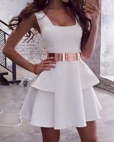 Vestido mini sin mangas plisado blanco sin mangas