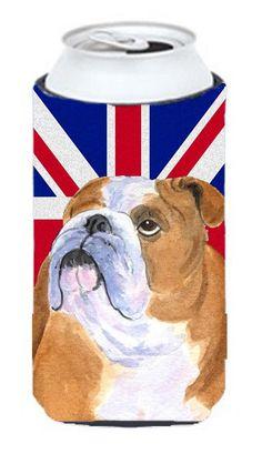 English Bulldog with English Union Jack British Flag Tall Boy Beverage Insulator Hugger SS4933TBC
