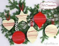 Felt Ornaments with Decorative Machine Stitching