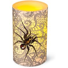 Improvements Spider & Web Battery Operated Halloween Candle ($9.98) ❤ liked on Polyvore featuring home, home decor, holiday decorations, halloween decor, battery operated pillar candles, battery powered pillar candles, halloween home decor and battery pillar candles