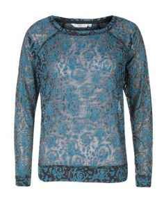 Petrol blue (Blue) Teal Rose Print Burnout Sweater | 288078847 | New Look