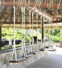 Inspiring Outdoor Bar Design Ideas For Outdoor Inspirations - Terrasse Deco Restaurant, Outdoor Restaurant, Restaurant Design, Balkon Design, Backyard Bar, Beach Cafe, Tiki Hut, Outdoor Kitchen Design, Swinging Chair