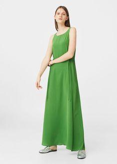 Robe longue Swing en soie verte par mango