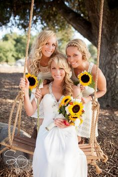 Country wedding! Beautiful bride with maid and matron of honor! :)