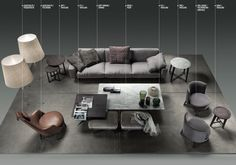 A Flexform Livingroom! In this layout we see a Soft Dream sofa in front of a cluster of Fly coffee tables, surrounded by a pair of Feel Good armchairs and a leather Guscioalto. Living Room Furniture Layout, Sofa Furniture, Furniture Sets, Furniture Design, Living Room Images, Living Rooms, Sofa Layout, Comfortable Couch, Hotel Lounge