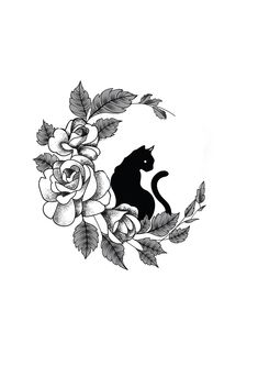 Designer: Andrija Protic Informations About Flower Cat Moon Tattoo De - Tattoo Chat, Mädchen Tattoo, Body Art Tattoos, Small Tattoos, Hot Tattoos, Pretty Tattoos, Ankle Tattoos, Tiny Tattoo, Arrow Tattoos