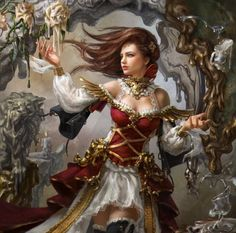 Mobius Final Fantasy - white, golden, long hair, abstract, red, necklace, beautiful, beauty, dress, fantasy, woman, pretty, art, female, brown hair, lady, fantasy woman