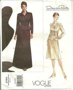 Vogue 2764 Designer Oscar de la Renta Formal Skirt Suit MOB Size 12 14 16 Uncut #VoguePatterns #Jacketfulllengthorbelowmidkneeskirt