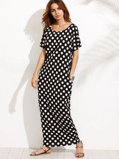 b341aadddae3 Shop Black and White Polka Dot Pocket Maxi Dress online. SheIn offers Black  and White
