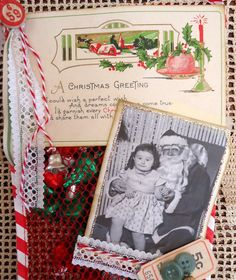 Vintage postcard, Vintage Street Market Twirly Twine and retro mesh stocking-all found at vintagestreetmarket.com