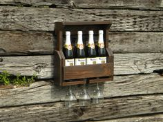 4 Bottle Wine Rack, Wine Rack, Pallet Wine Rack, Reclaimed Wood, Rustic Home Decor, Wedding Gift, Pallet Furniture, Wooden Shelf, Mini Bar, on Etsy, $60.00