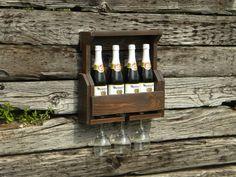 4 Bottle Wine Rack, Wine Rack, Pallet Wine Rack, Reclaimed Wood, Rustic Home Decor, Wedding Gift, Pallet Furniture, Wooden Shelf, Mini Bar, on Etsy, $60.00