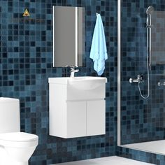 Σετ Μπάνιου, Bianca,Κρεμαστό έπιπλο με δύο πόρτες με νιπτήρα 55*45*62 και καθρέπτη 42,6*67 ,Λευκό Χρώμα Από την Alphab2b.gr Toilet, Vanity, Bathroom, Dressing Tables, Washroom, Flush Toilet, Powder Room, Vanity Set, Full Bath