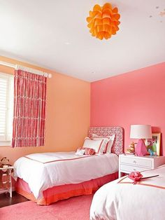 Bedroom Wall Designs, Bedroom Wall Colors, Paint Colors For Living Room, Bedroom Decor, Orange Rooms, Bedroom Orange, Bedroom Color Combination, Happy Room, Bright Rooms