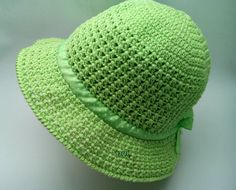 The yarn is mercerized cotton summer cool. Cotton Hat, Green Cotton, Crochet Hat With Brim, Crochet Hats, Hats For Women, Women Hat, Wide-brim Hat, Green Ribbon, Crochet Woman