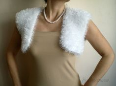 Knitted Knit Vest  Sweater  White Sparkle Furry by bysweetmom, $50.00