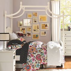 Cozy Pottery Barn Teen Room with Vintage White Wooden Canopy Bed ...