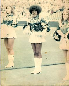 Mary Smith, one of the first African American Dallas Cowboy cheerleaders, 1970.