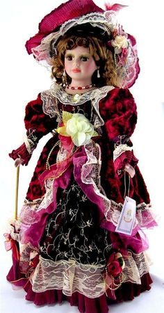 """COLLECTIBLE PORCELAIN VICTORIAN GIFT DOLL BURGUNDY DRESS  22""""H"""